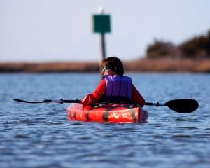kayaker wearing lifejacket