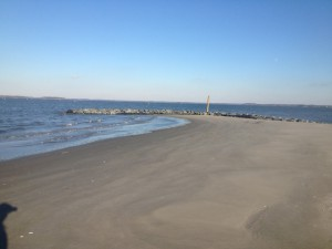 After: Shoreline has been replenished with dredged sand. The area is set to be planted with native grasses this spring.