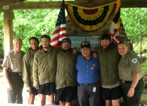 Lt. Col. Chris Bushman, MD Veteran Affairs Secretary Ed Chow, and Christina Holden, along with Warrior Hikers at Washington Monument State Park.