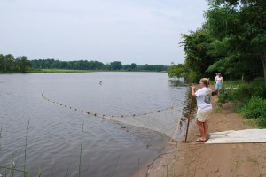 Crews visit each survey site collecting fish samples with a 100-foot beach seine