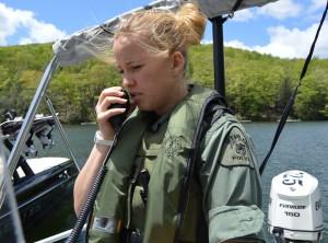Officer Erica Minnick on patrol at Deep Creek Lake.