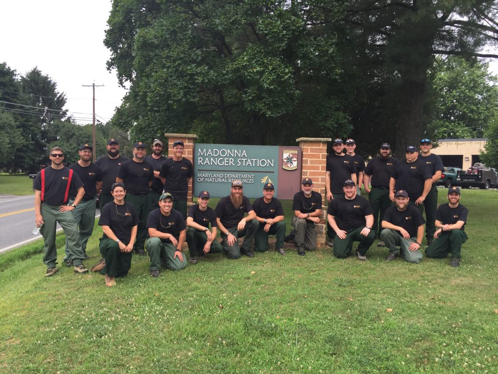 Photo of Maryland Natural Resources wildland firefighter ready to deploy to western United States.