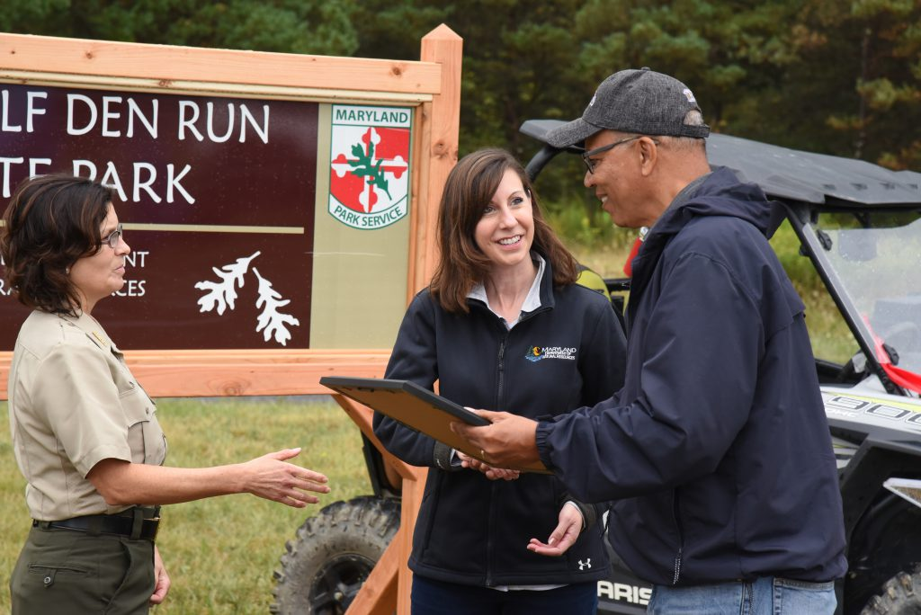 Photo of Secretary Haddaway-Riccio at Wolf Den Run State Park