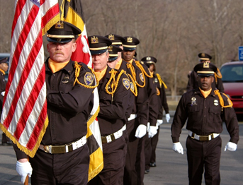 officers with flag