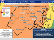 Storm map showing most of Maryland can expect severe weather